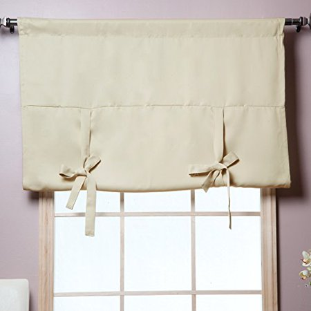 Best Home Fashion Thermal Insulated Blackout Tie-Up Window Shade - Rod Pocket - Beige - 42