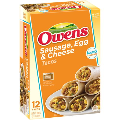 Owens Sausage, Egg & Cheese Tacos, 12 count, 28.8 oz