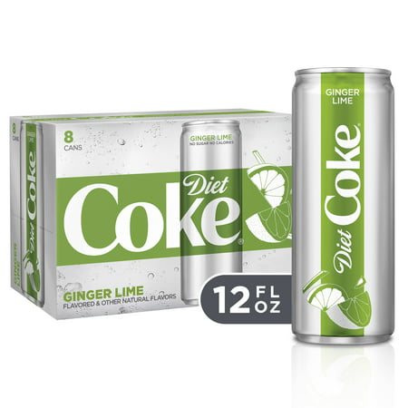 (3 Pack) Diet Coke Slim Can Soda, Ginger Lime, 12 Fl Oz, 8 Count (Coke Test)