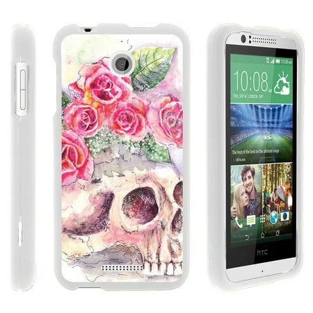 Htc Desire 510   Snap Shell  White  Hard White Plastic Case With Non Slip Matte Coating With Custom Designs   Flower Skull