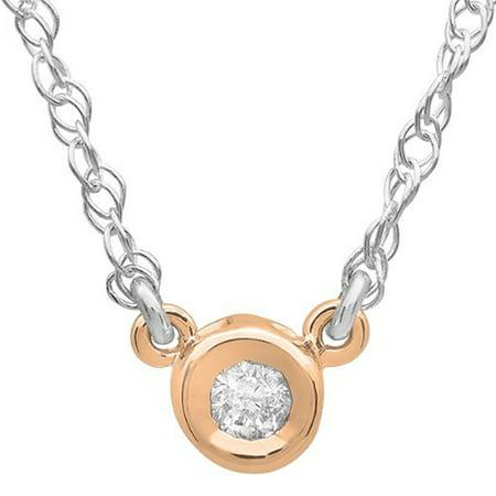 0.05 Carat (ctw) 10k Gold Round Diamond Ladies Bezel Set Solitaire Pendant 1/20 CT