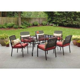 Cosco Outdoor Furniture 7-Piece Lakewood Ranch Steel Woven Wicker ...