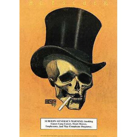 MC Escher Skull Cigarette Top Hat Surgeon Generals Warning Poster - 11x14