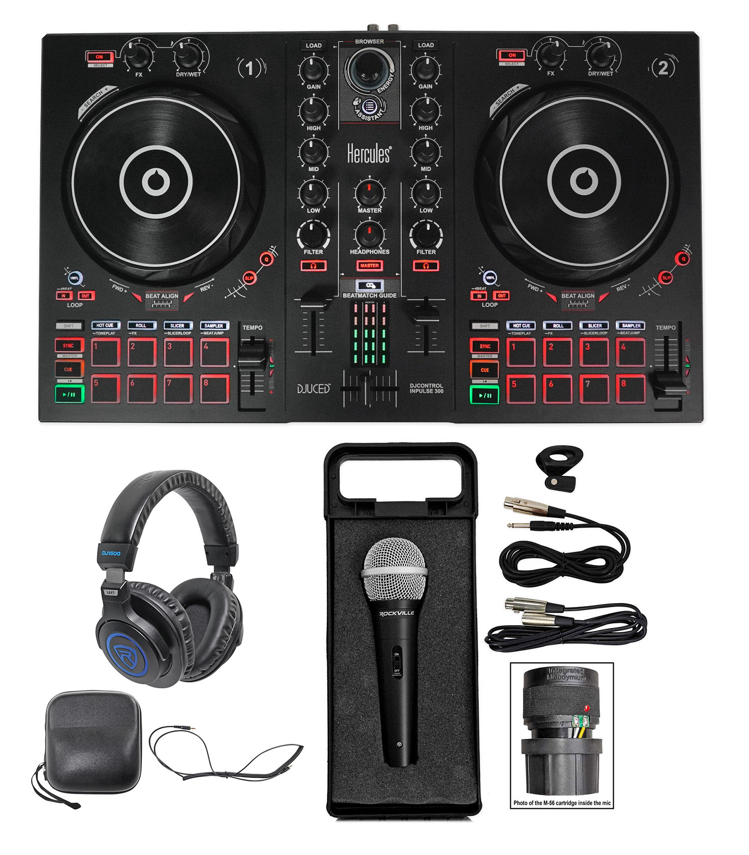 Stereo Cable Hercules DJ Control Inpulse 300 Professional Headphones Cleaning Cloth