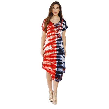 Riviera Sun Plus Size Summer Dresses / Swimsuit Cover Up / Resort Wear (Cap  Sleeve Red White & Blue Embroidered)