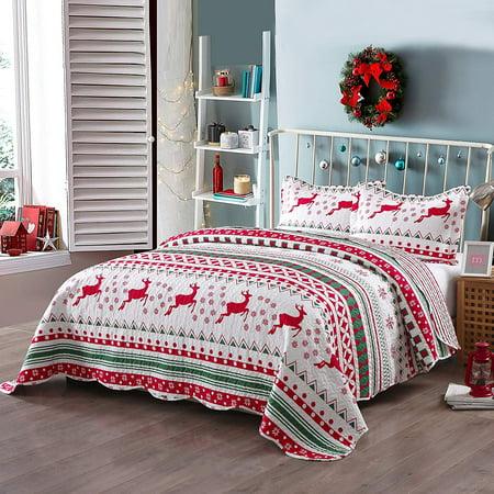 MarCielo 3 Piece Christmas Quilt Set Bedspread Throw Blanket for Kids Adult Teens Boys Girls Bed Printed Bedding Lightweight Coverlet Comforter Set, Snowflake (Full/Queen ()