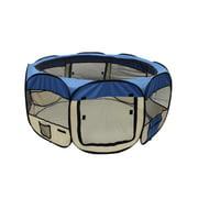 ALEKO Octagonal Portable Pop-up Pet Playpen - 45 Inches - Blue