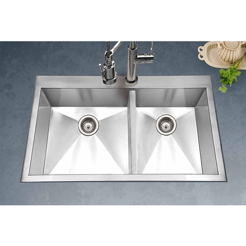 Houzer BCD-3322 Bellus Series Topmount Stainless Steel Double Bowl Kitchen Sink