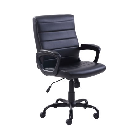 Long Back Chair - Mainstays Bonded Leather Mid-Back Manager's Office Chair, Adjustable, Black