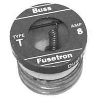 Bussmann T Time Delay Heavy Duty Plug Fuse, 8 A, 125 VAC, 10 kA