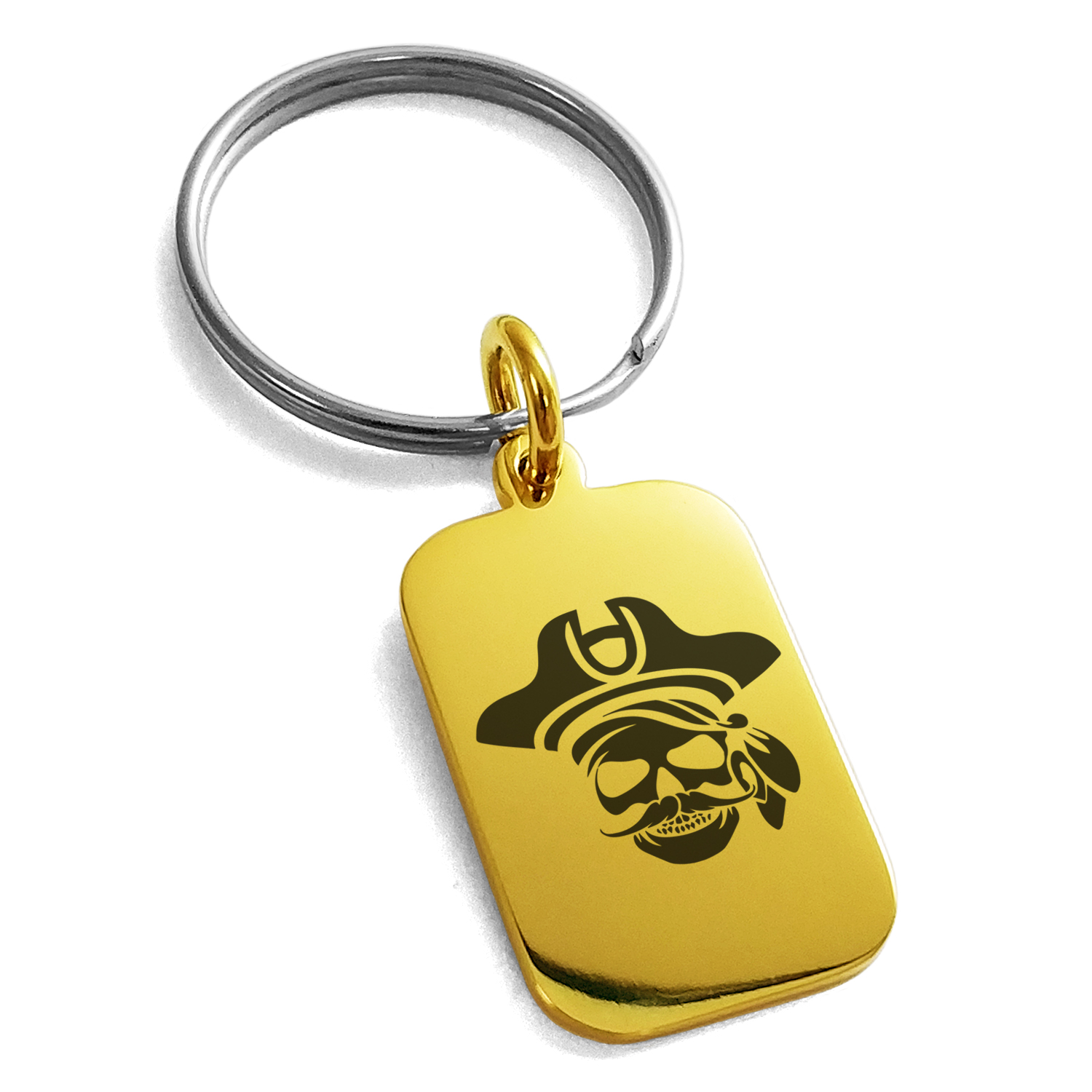 Stainless Steel Sea Dog Pirate Skull Emblem Engraved Small Rectangle Dog Tag Charm Keychain Keyring