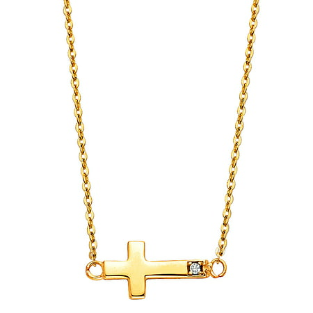 Jewels By Lux 14K Yellow Gold Floating Mini Sideways Cross Cubic Zirconia CZ Accent Chain Necklace 17 Inches ()