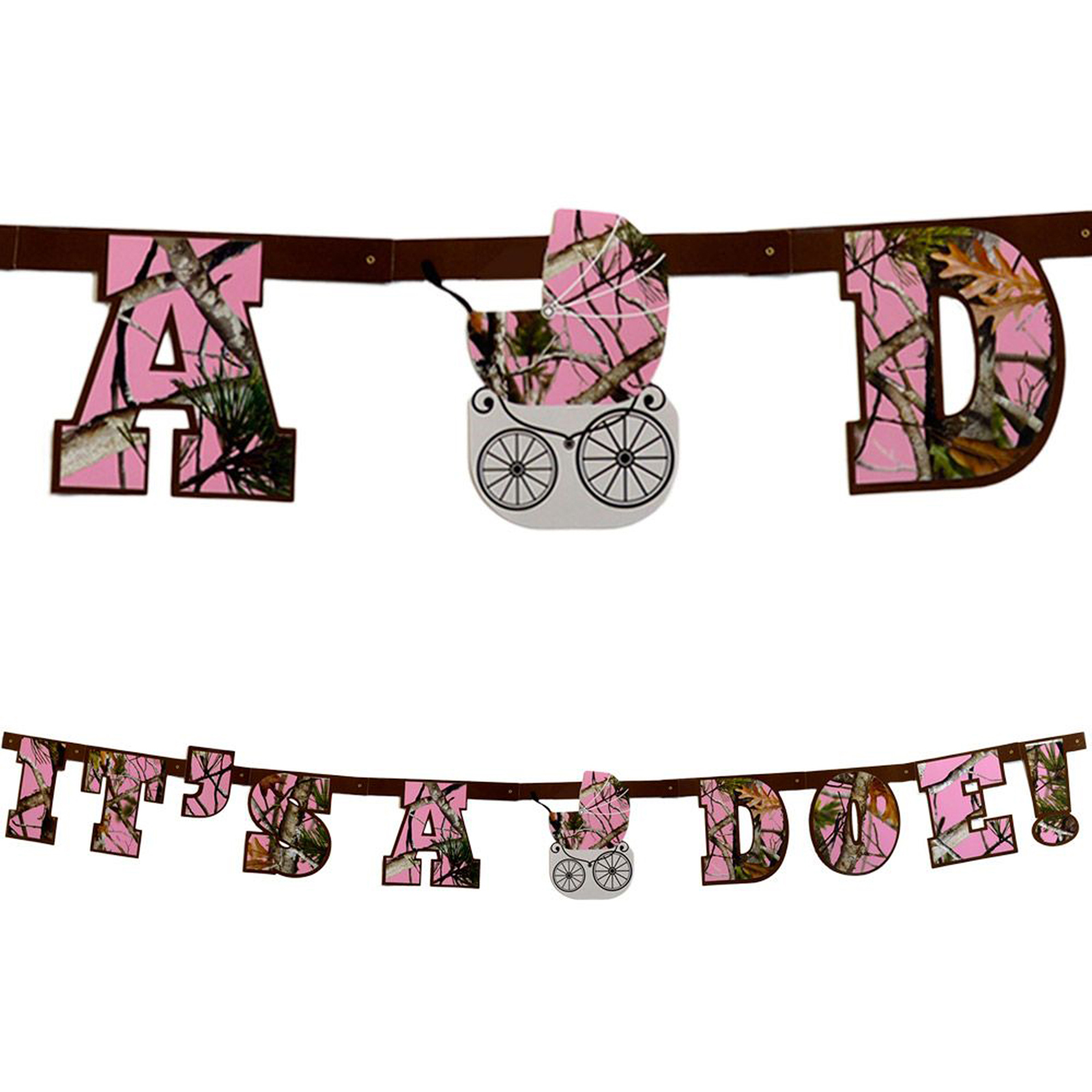 "Pink Camo ""it's A Doe"" Banner Decoration"