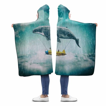 ASHLEIGH Take Me To The Dream Custom Hooded Blanket Throw Blanket Wearable Hooded Blanket 56x80 inch
