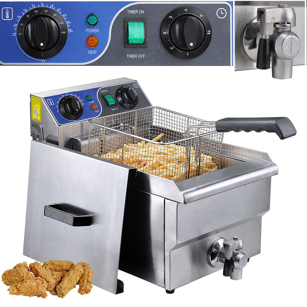 GHP Single Tank 10L Commercial Electric Stainless Steel Deep Fryer w Timer Drain