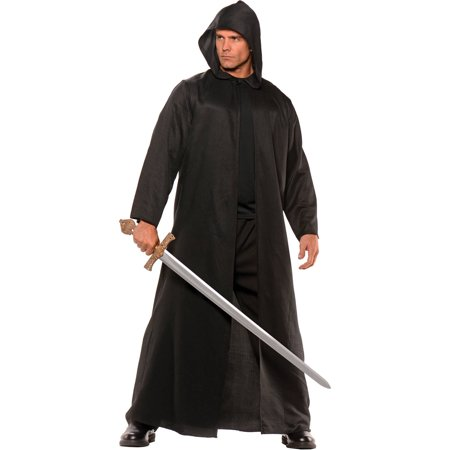 Cloak Black Faux Leather Men's Adult Halloween Costume