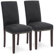 Best Choice Products Set of 2 Upholstered High Back Padded Accent Dining Chairs w/ Wood Legs, Studs - Charcoal
