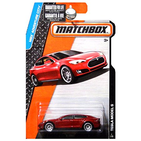 TESLA MODEL S Matchbox 2016 MBX Adventure City Series RED Tesla Model S Sedan 1:64 Scale Collectible Die Cast Sports Electric Car