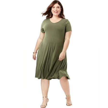 Roaman\'s - Roaman\'s Plus Size Swing Dress With Curved Hem - Walmart.com