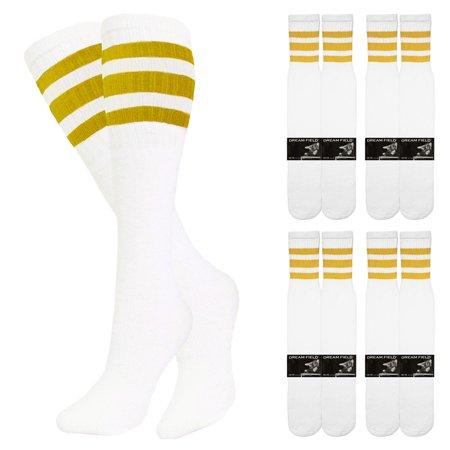 1-4 Pair Cotton 3 Stripe Knee High Tube Socks Old School 24