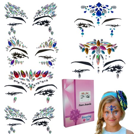 Face Jewels Rhinestone Gems (6 pcs) - Bindi Temporary Tattoos Body Stickers Mermaid Festival Crystal Jewelry – Perfect Rhinestone Face Jewelry for A Dress-Up or Costume Party By Amazing - Little Mermaid Temporary Tattoos