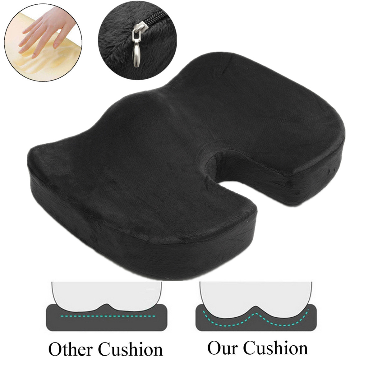 100% Memory Foam Office Chair Coccyx Seat Cushion For Orthopedic Tailbone Pain Sciatica & Back Pain Relief