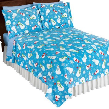 Christmas Twin - Blue Holiday Snowman with Snowflakes and Cardinals Fleece Coverlet, Christmas Bedding, Twin, Blue