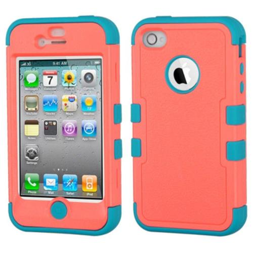 Insten Tuff Hard Dual Layer Rubber Coated Silicone Case For Apple iPhone 4 / 4S - Red/Teal