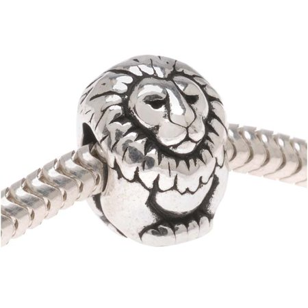 Silver Plated Pewter European Style Large Hole Lion Bead 11.5mm (1)](Large Beads)