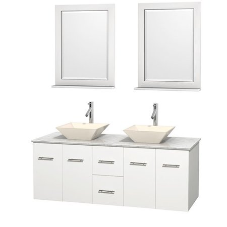 Wyndham Collection Centra 60 inch Double Bathroom Vanity in Matte White, White Carrera Marble Countertop, Pyra Bone Porcelain Sinks, and 24 inch Mirrors ()