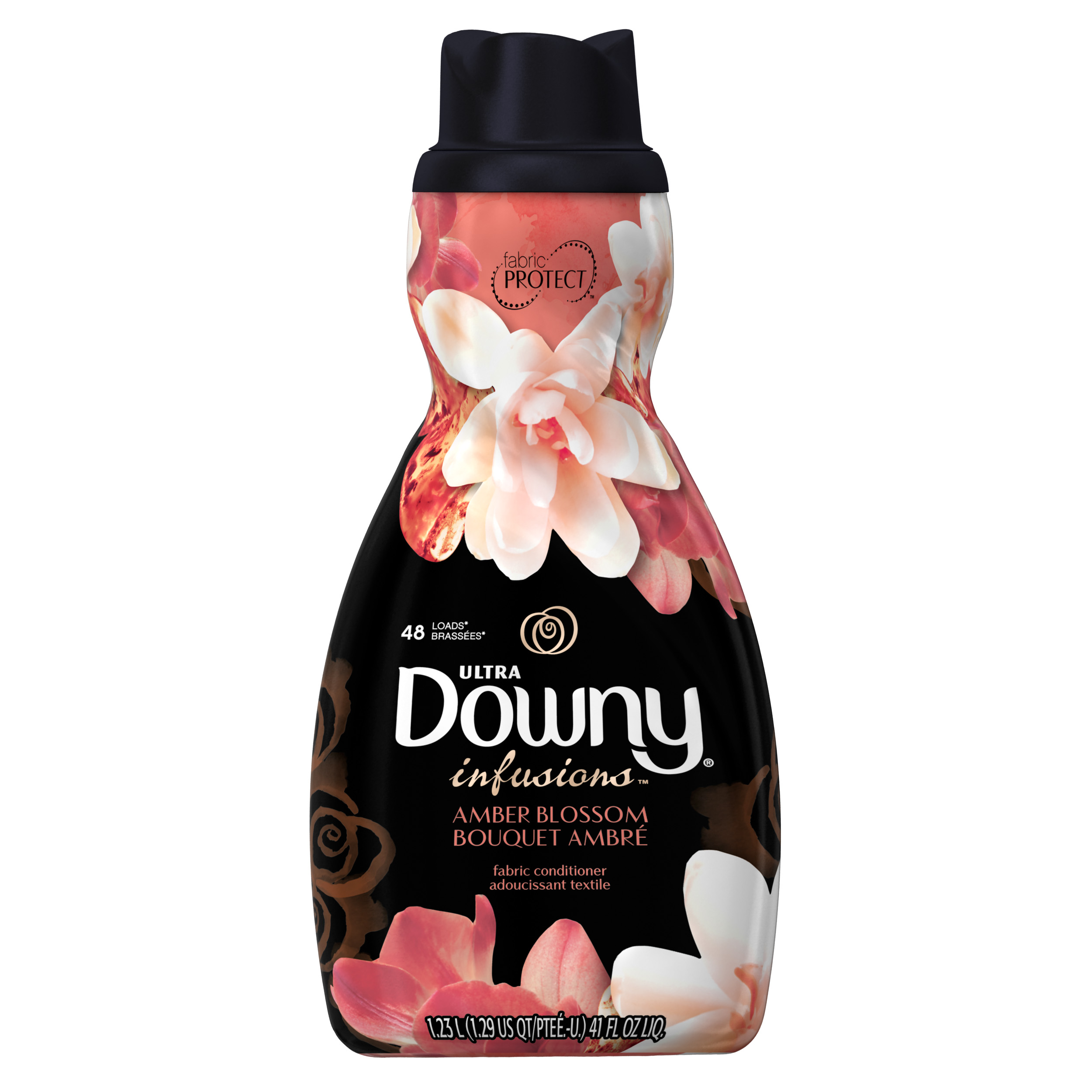 Downy Ultra Infusions Liquid Fabric Conditioner (Fabric Softener), Amber Blossom, 48 Loads, 41 fl oz