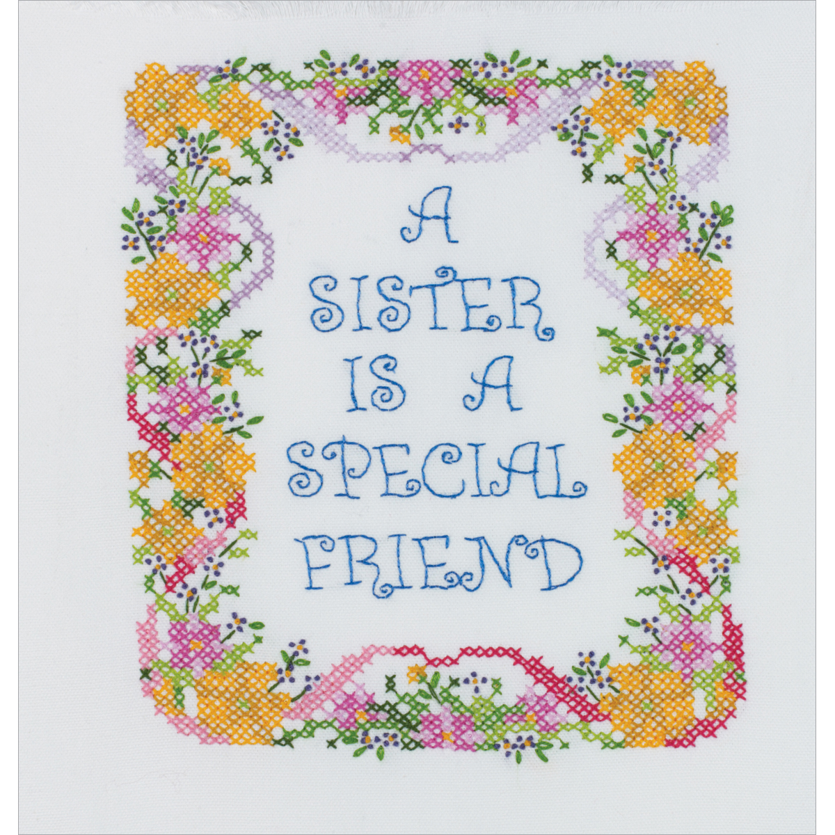 "A Sister Is A Special Friend Stamped Cross Stitch Kit, 7"" x 9"""