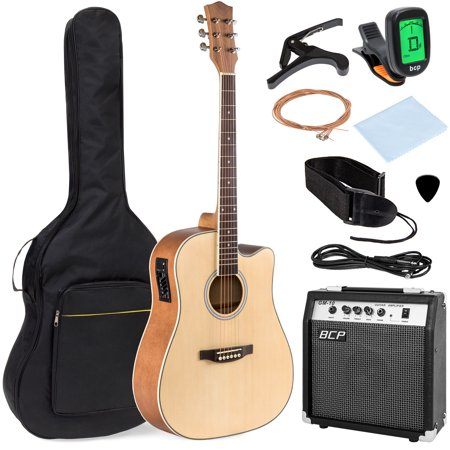 - Best Choice Products 41in Full Size All-Wood Acoustic Electric Cutaway Guitar Musical Instrument Set w/ 10-Watt Amplifier, Capo, E-Tuner, Gig Bag, Strap, Picks, Extra Strings, Cloth - Natural