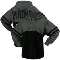 Purdue Boilermakers Women's Pom Pom Jersey Oversized Long Sleeve Hoodie T-Shirt - Black