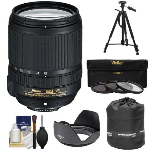 Nikon 18-140mm f/3.5-5.6G VR DX ED AF-S Nikkor-Zoom Lens + 3 Filters + Hood + Pouch + Tripod Kit for D3200, D3300, D5300, D5500, D7100, D7200 Camera