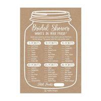 25 Rustic Whats In Your Purse Bridal Wedding Shower or Bachelorette Party Game Item Cards Engagement Activities Ideas For Couples Funny Co Ed Rehearsal Dinner Supplies and Decoration Favors For Guests