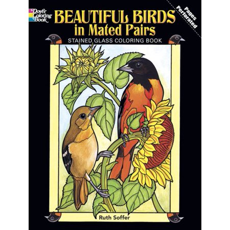 Birds Stained Glass Coloring Book (Beautiful Birds in Mated Pairs Stained Glass Coloring Book )