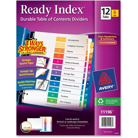 Avery Ready Index Customizable Table of Contents, Asst Dividers, 12-Tab, Ltr, 6 Sets Cut Asst Top Tab