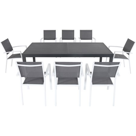 """Hanover Naples 9-Piece Outdoor Dining Set w/ 8 Sling Chairs in Gray/White and 40"""" x 118"""" Expandable Dining Table"""