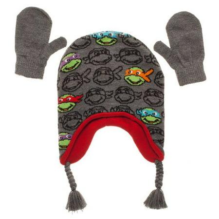Teenage Mutant Ninja Turtles Baby Toddler Boy Trapper Hat & Mittens 2pc Set