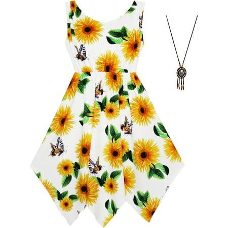 Girls dress sunflower butterfly hanky hem party beach necklace girls dress sunflower butterfly hanky hem party beach necklace sundress 8 walmart mightylinksfo