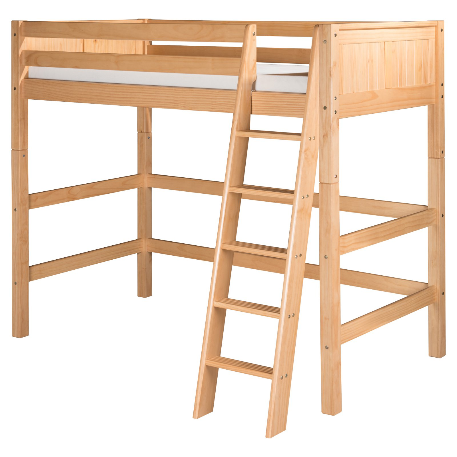 Camaflexi Full Size High Loft Bed - Panel Headboard - Natural Finish