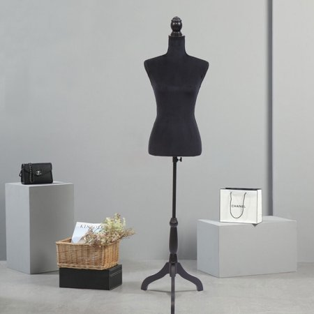 Jaxpety Black Female Mannequin Torso Dress Clothing Form Display Sewing Mannequin W/ Tripod Stand New