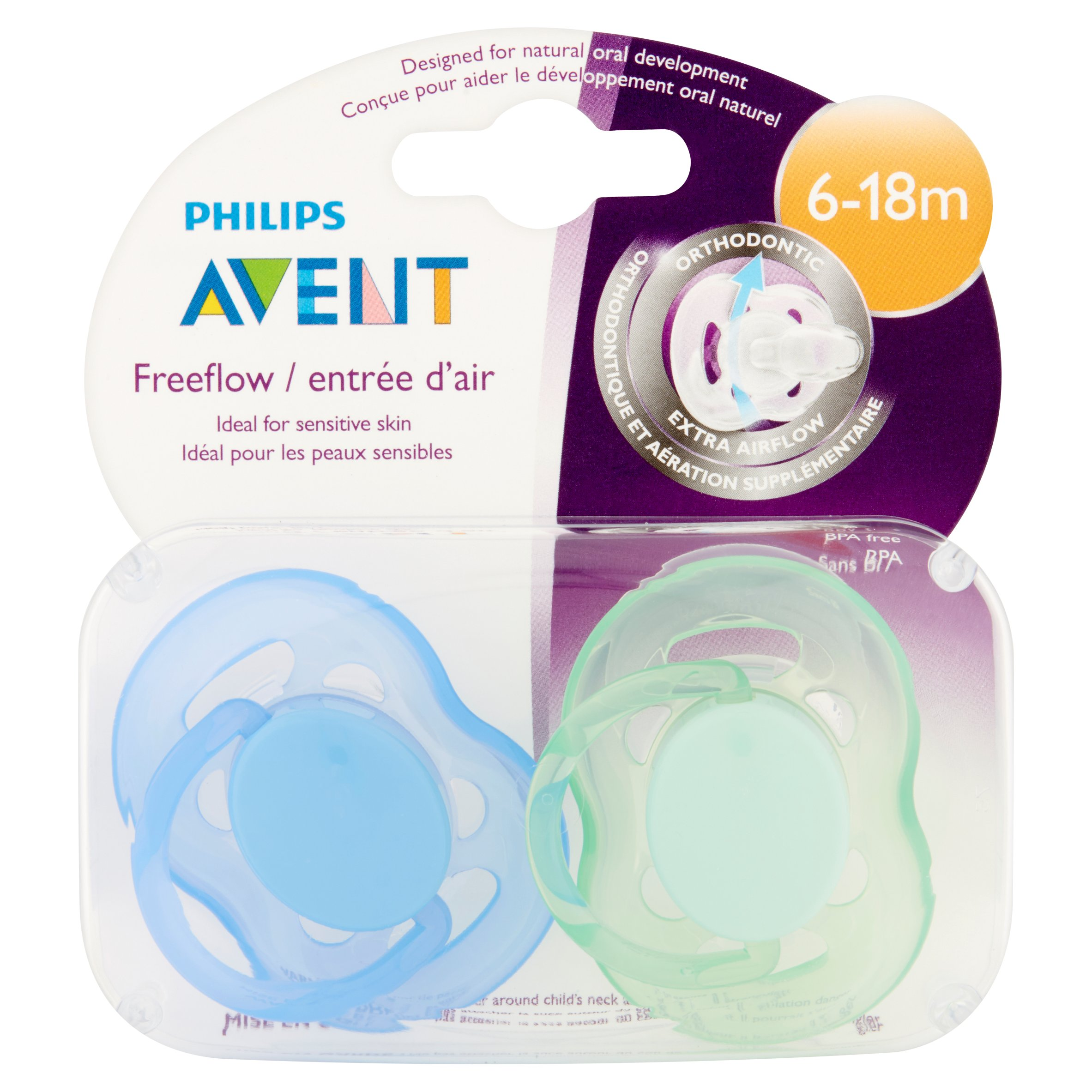 Philips Avent Freeflow Pacifier, 6-18 Months - 2 Counts