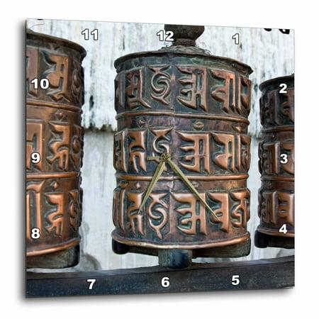 3dRose Kathmandu, Nepal. Prayer Wheels at Swayambhunath Temple, Wall Clock, 15 by 15-inch