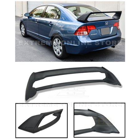 Extreme Online Store for 2006-2011 Honda Civic Sedan Models | EOS Mugen RR Style ABS Plastic Primer Black JDM Rear Trunk Lid Wing Spoiler Lid Rear Spoiler
