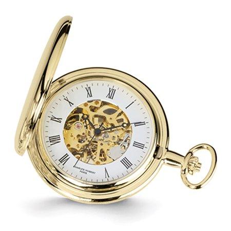 - Lex & Lu Charles Hubert 14k Gold Finish White Dial Pocket Watch XWA1030