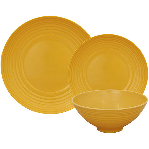 Gourmet Home Products Ribbed Melamine 12-Piece Dinnerware Set