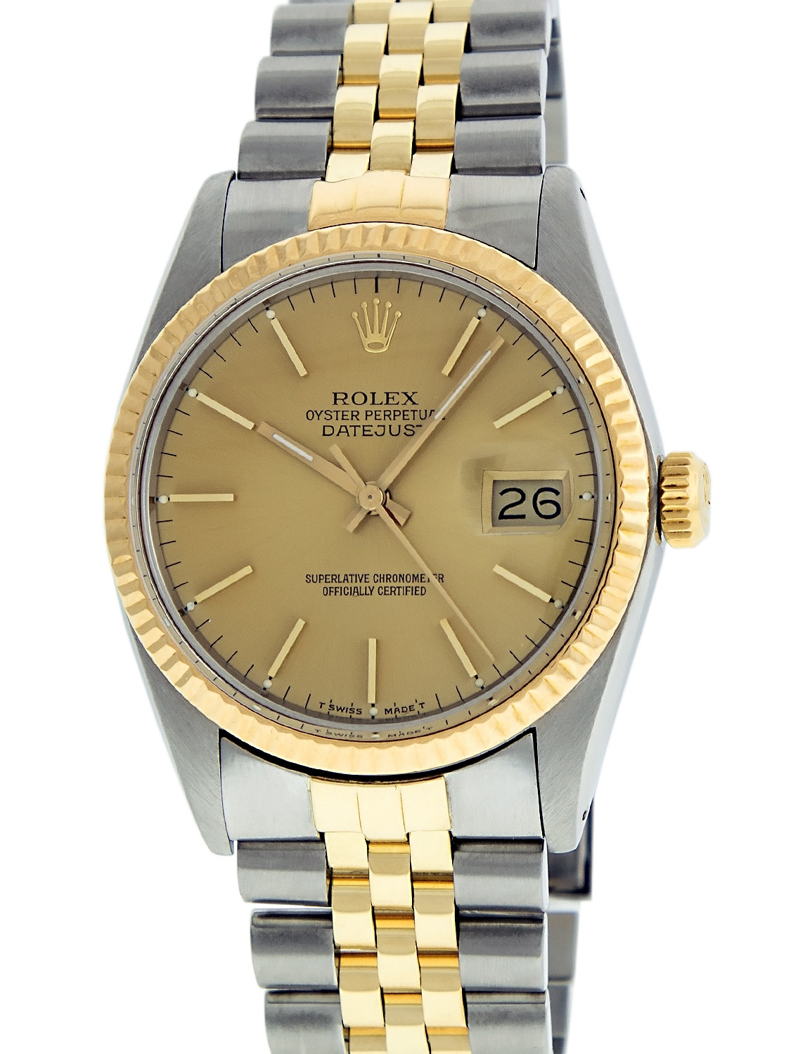Pre-Owned Rolex Mens Datejust Steel & 18K Yellow Gold Champange Index Watch 16013 Jubilee