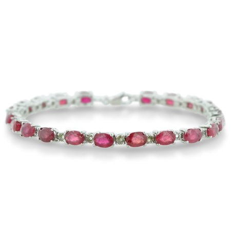13 Carat Ruby and Diamond Bracelet in Sterling Silver 7 inches